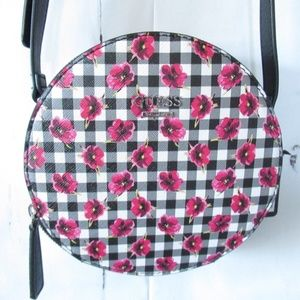 Guess Crossbody Bag Gingham Check Floral Round